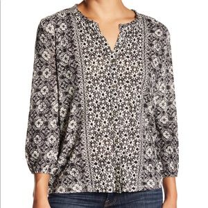 Lucky Brand Split Neck 3/4 Sleeve Blouse Black S